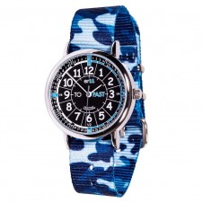 Easy Read Time Teacher Watch - Blue Camo Strap, Black Face