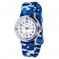 Easy Read Time Teacher Watch - Blue Camo Strap, White Face