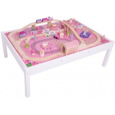 Bigjigs Rail Magical Wooden Train Set and Table