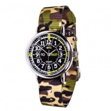 Easy Read Time Teacher Watch - Green Camo Strap, Black Face