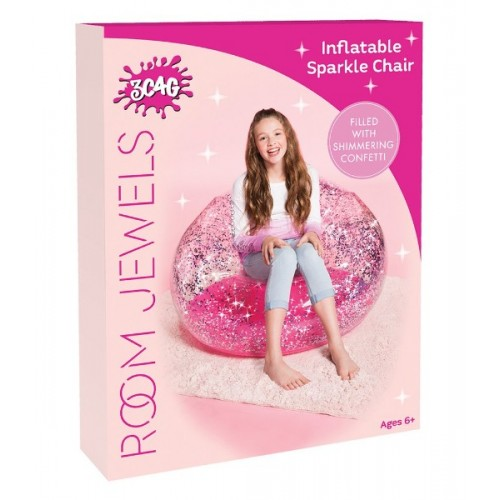 GLITTER CONFETTI INFLATABLE CHAIR: PINK