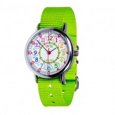 Easy Read Time Teacher Watch - Lime Strap, Rainbow, Past/To