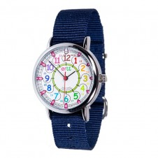 Easy Read Time Teacher Watch - Navy Blue Strap, Rainbow, Past/To