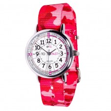Easy Read Time Teacher Watch - Pink Camo Strap, White Face