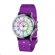 Easy Read Time Teacher Watch - Purple Strap, Rainbow, Past/To