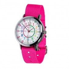 Easy Read Time Teacher Watch - Pink Strap, Rainbow, Past/To