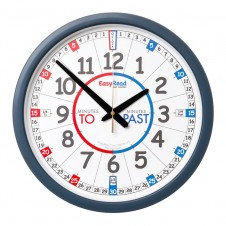 Easy Read Time Teacher 35cm Red/Blue Face Past/To Classroom Clock
