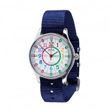 Easy Read Time Teacher Watch - Waterproof, Navy Blue Strap, Rainbow, Past/To