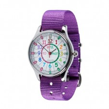 Easy Read Time Teacher Watch - Waterproof, Purple Strap, Rainbow, Past/To