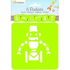 Set of 6 Assorted Robots Stencils