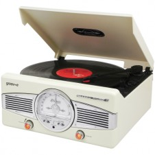 Retro Series Vinyl Record Player with Radio & Built-in Speakers – Cream